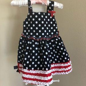 Navy and white polka dot dress! Size 6-9 mo.